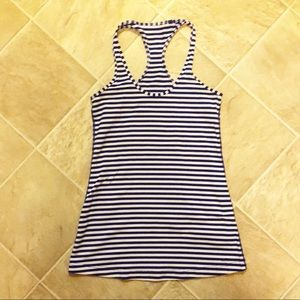 Lululemon Blue and White Stripped Cool Racerback